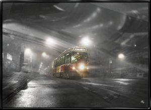 City Tram, plakat fra Inda Art med sporvogn i den mørke nat