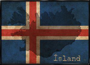 Plakat fra Inda Art med det silhouet af Island på det islandske flag