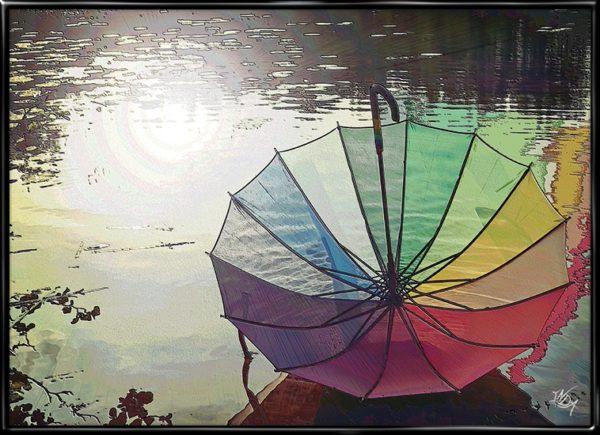 Flowing Colors, plakat fra Inda Art med paraply i regnen