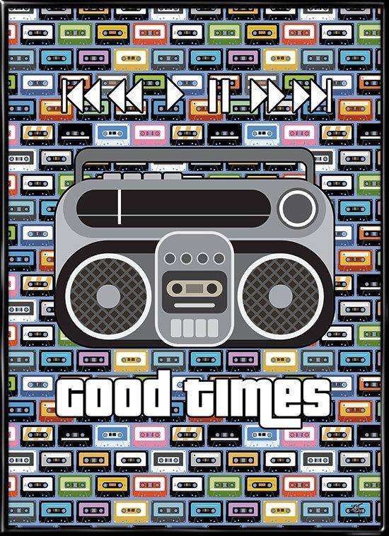 Good Times, retro plakat fra Inda Art med kassettebånd og ghettoblaster