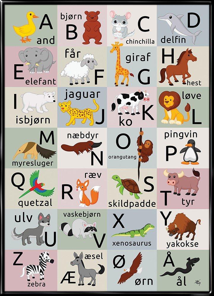 Dyrealfabetet, plakat fra Inda Art med hele alfabetet og børnvenlige dyretegninger på klare farver, plakat fra Inda Art