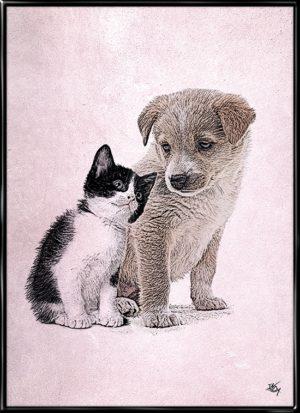 Pelsvenner, plakat fra Inda Art til børneværelset med en kat og en hund