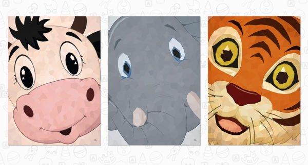 Dyrene siger hej, postkort fra Inda Art. 3 billeder i alt med dyrehovedet helt tæt på. Fås også som plakater
