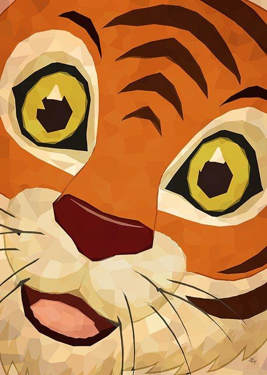Postkort til børn fra Inda Art. Tigeren brøler, en del af Dyrene siger hej samlingen
