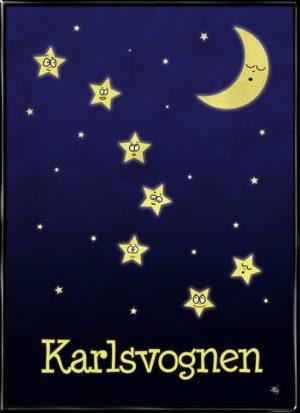 Karlsvogen, plakat fra Inda Art til børneværelset med 7 stjerner og en måne med ansigter