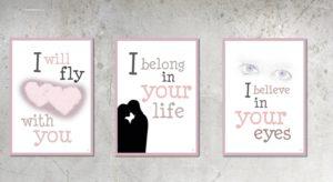 Love Collection, kærlighedssamling fra Inda art med 3 postkort