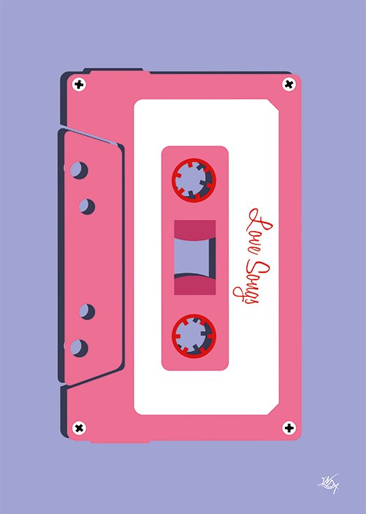 Love Songs, postkort fra Inda Art som er en del af Mixed Tapes samlingen