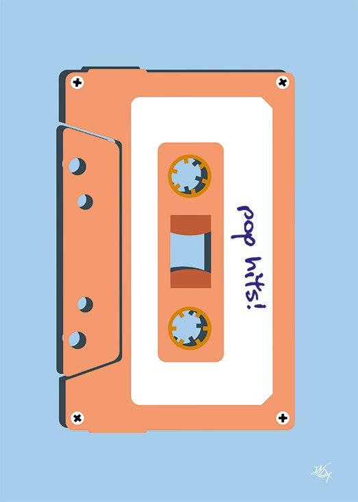 Pop Hits, postkort fra Inda Art som er en del af Mixed Tapes samlingen