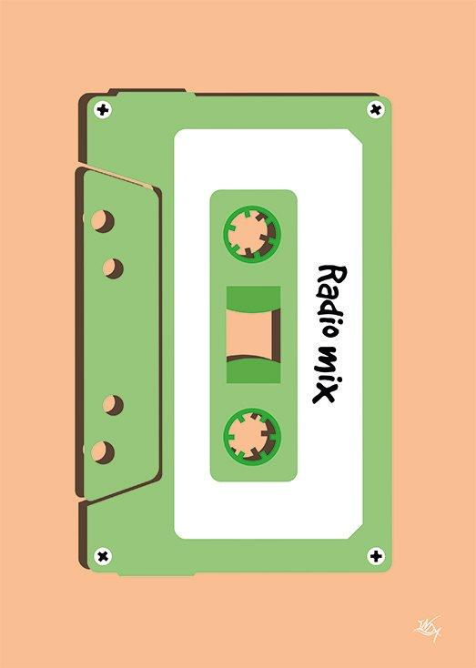 Radio Mix, postkort fra Inda Art som er en del af Mixed Tapes samlingen
