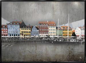 Plakat fra Inda Art med Nyhavn i et miks af foto og grafik