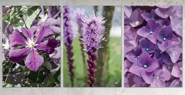 Lilla blomster, postkort fra Inda Art. 3 billeder i alt af lilla blomster i et miks af foto og grafik