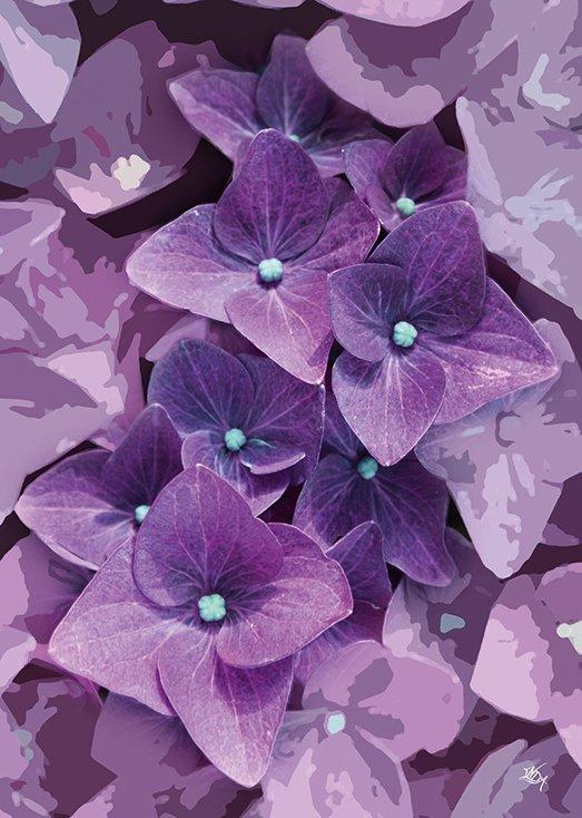 Postkort fra Inda Art med lilla blomster