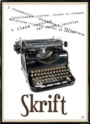 Retro Skrift, plakat fra Inda Art med klassisk skrivemaskine i gammel stil