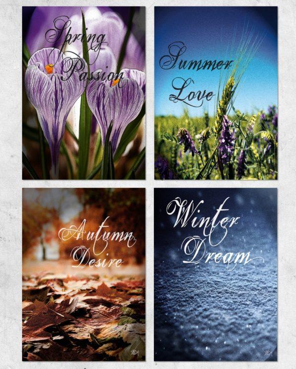 Seasons Collection, fire postkort fra Inda Art inspireret af hver af de fire årstider