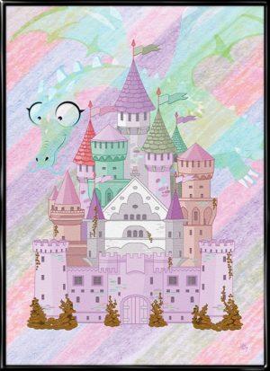 Slottet og dragen, plakat fra Inda Art til børnværelset med slot og drage i pigefarver