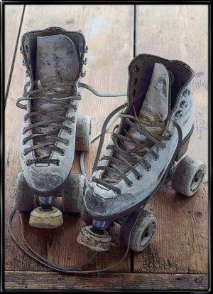 Rollerskates Artified, sportsplakat fra Inda Art med klassiske rulleskøjter i retro look