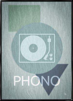 Record Player, retro plakat fra Inda Art med silhouet af den klassiske pladespiller