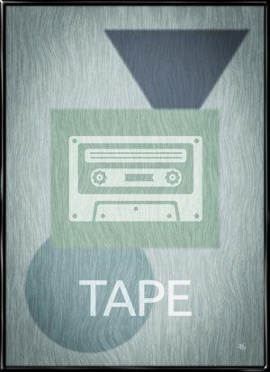 Cassette Player, plakat fra Inda Art med silhouet af det klassiske kassettebånd