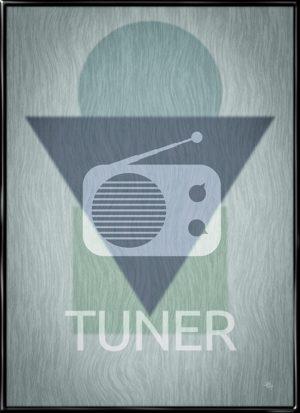 Radio Tuner, retro plakat fra Inda Art med silhouet af den klassiske radio