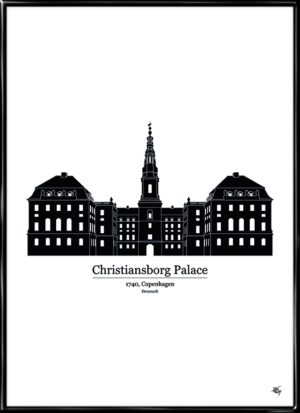 Christiansborg Palace, plakat fra Inda Art med silhouet af Christiansborg slot i København