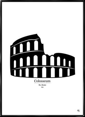 Colosseum, plakat fra Inda Art med silhouet af Colosseum i Rom