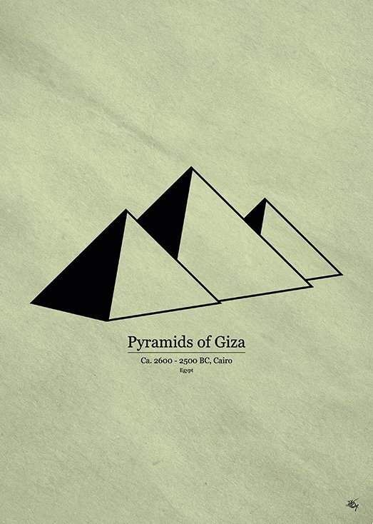 Pyramids of Giza, postkort fra Inda Art, en del af Wonders Collection