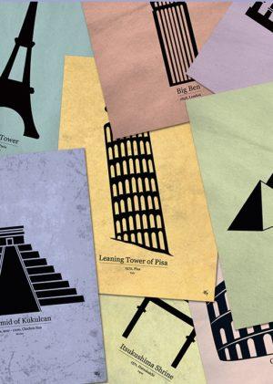 Postkort fra Inda Art med silhouetter af verdensvidundere