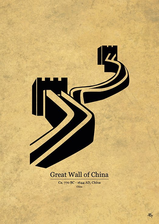 Great Wall of China, postkort fra Inda Art, en del af Wonders Collection