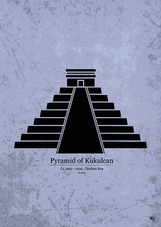 Pyramid of Kukulcan, postkort fra Inda Art, en del af Wonders Collection