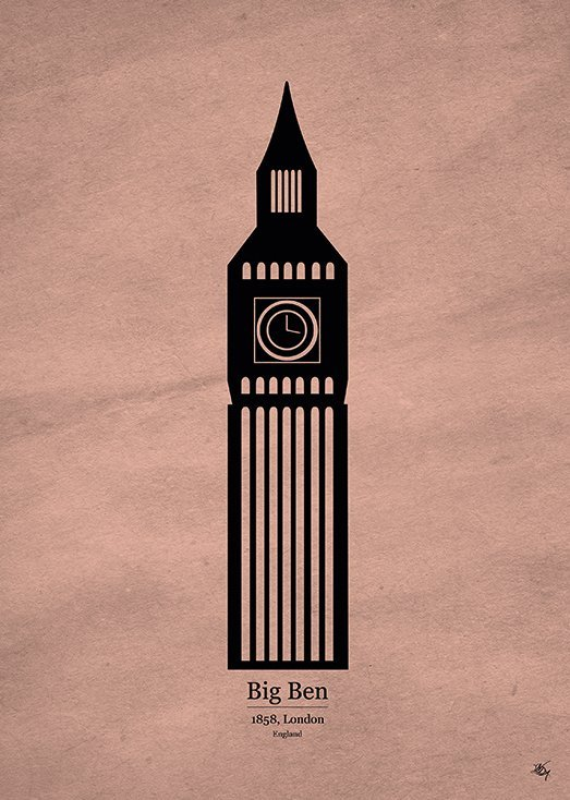 Big Ben, postkort fra Inda Art, en del af Wonders Collection