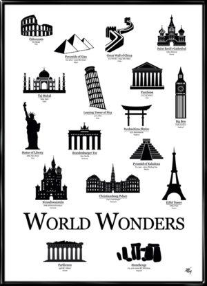 World Wonders, plakat fra Inda Art med silhouetter af 17 verdensvidundere