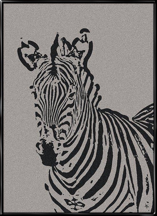 Zebra on Stone, plakat af zebra på stenbaggrund fra Inda Art