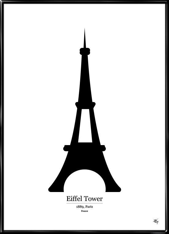 plakat fra Indart med Eiffeltårnet