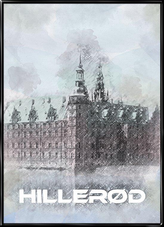 Hillerød, plakat fra Inda Art med Frederiksborg Slot