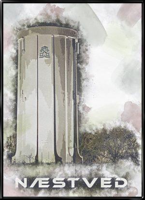 Næstved, plakat fra Inda Art med Sjølundstårnet