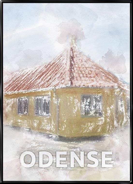 Odense, plakat fra Inda Art med H.C. Andersens hus