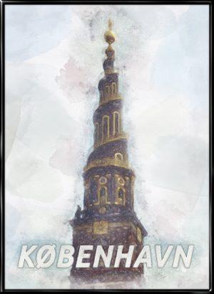 Malerisk by plakat fra Købnehavn med tårnet fra Vor Frelsers kirke