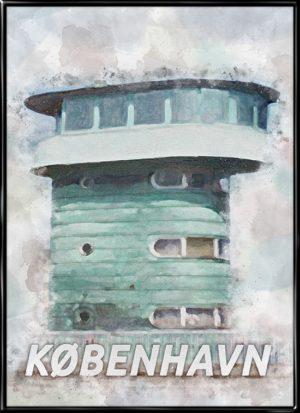 Malerisk by plakat fra Købnehavn med brotårnet fra Knippelsbro
