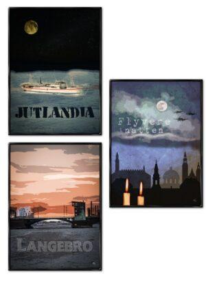 Jutlandia, Langebro og Flyvere i Natten (3-pak), plakater fra Inda Art