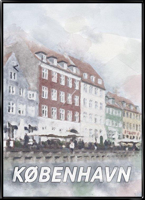 By plakat fra København af de farverige huse i Nyhavn
