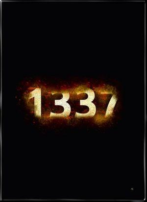 Gamer plakat fra Inda Art med 1337 omsvøbt af flammer