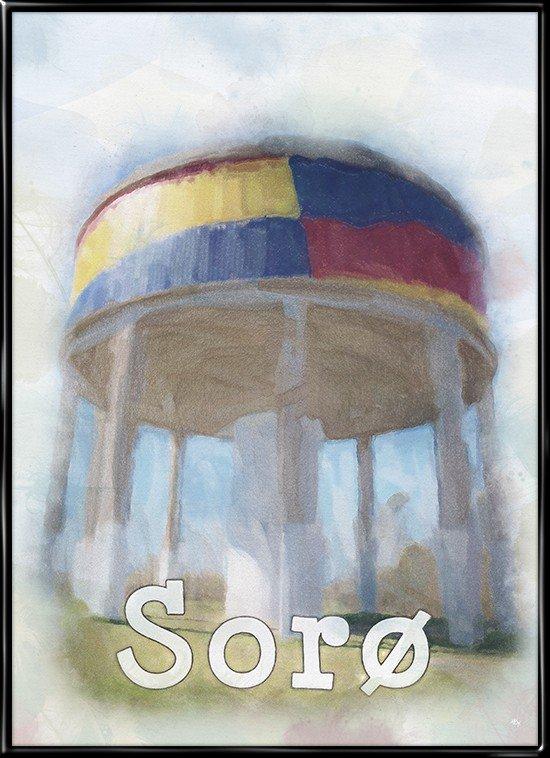 By plakat med vandtårnet i Sorø