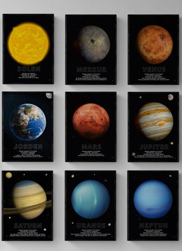 9-pak med motiver af planeter og Solen, postkort eller plakat