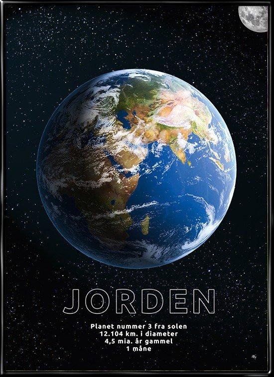 Plakat med Jorden afbilledet i rummet og månen i udkanten.