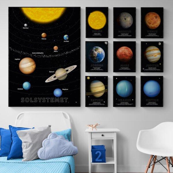 Solsystemet og 9-pak med motiver af planeter og Solen, postkort eller plakat