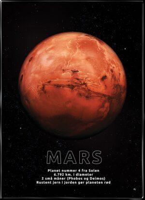 Mars, astronomi plakat fra Inda Art med Solsystemets 4. planet