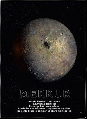 Merkur, astronomi plakat fra Inda Art med Solsystemets 1. planet
